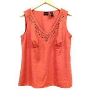 Axcess Sleeveless Linen Embellished V-Neck Top- 12